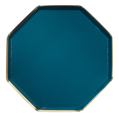 Большие темно-зеленые восьмиугольные тарелки