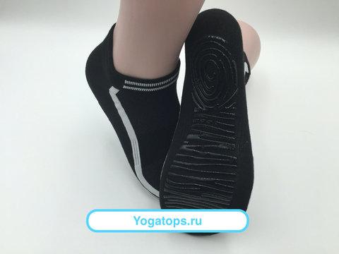 Нескользящие носки (р. 40-42, черно-белые) - Усиленные, для йоги, батута, фитнеса