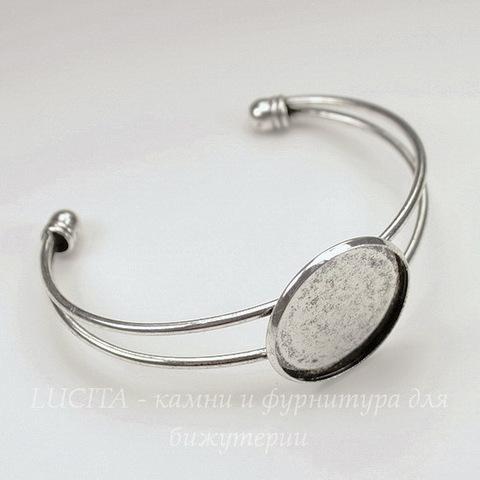 Основа для браслета 67х53 мм с сеттингом для кабошона 25 мм (цвет - античное серебро)