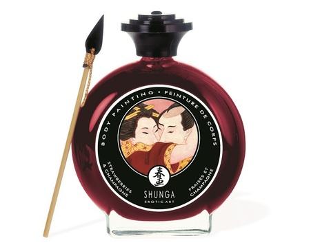Съедобная крем-краска для тела Shunga с ароматом шампанского и клубники (100 мл)