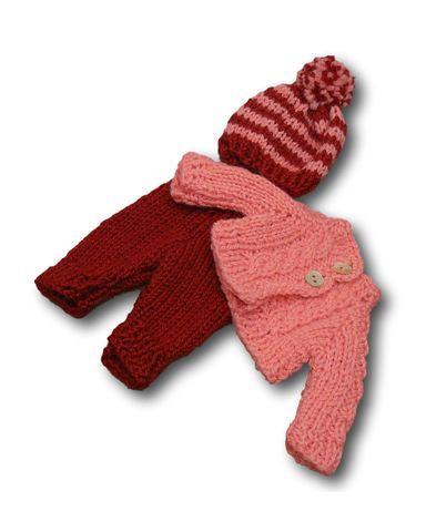 Вязаный жакет, рейтузы и шапочка - Розовый / бордовый. Одежда для кукол, пупсов и мягких игрушек.