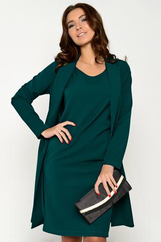 """Шикарная двойка для дамы с обложки модного журнала. В этом образе Вы удивите окружающих своим безупречным вкусом. Платье """"карандаш"""", по спинке замок. Плюс удлиненный жакет на застежке """"крючок"""". (Длина платья: 44-94см; 46-95см; 48-96см; 50-98см; 52-100см. Жакет короче платья на 5 см)"""