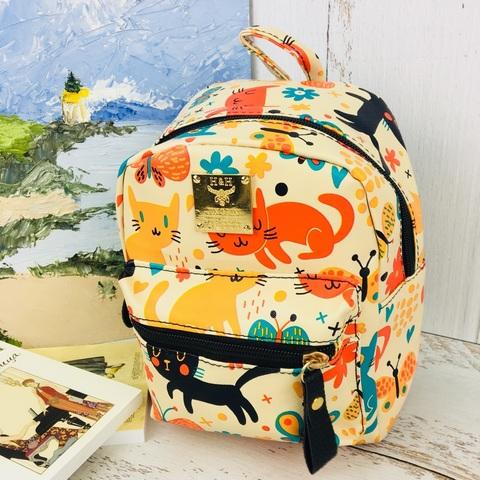 Детский рюкзак Весёлые Коты бежевый
