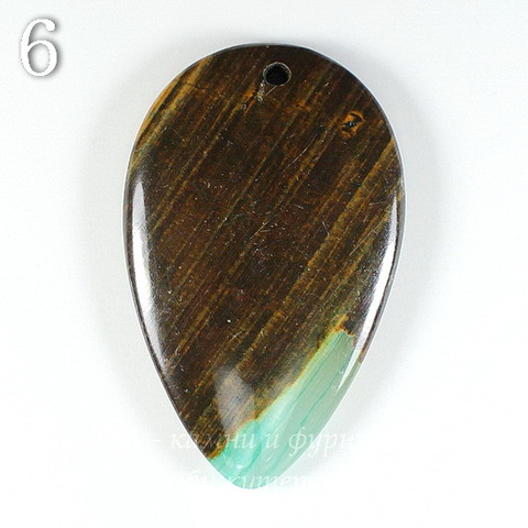 Подвеска Опал, цвет - коричнево-зеленый (№6 (47х29 мм))