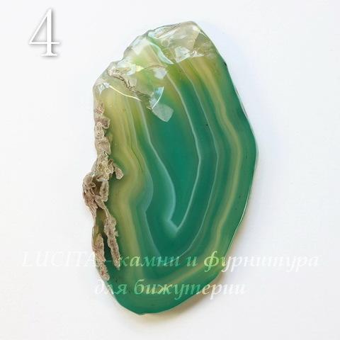 Подвеска Срез Агата (тониров), цвет - зеленый с полосками, 67-109 мм (№4 (78х45 мм))