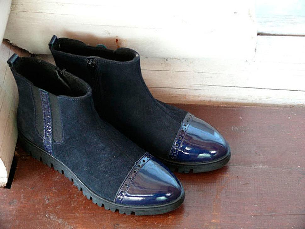 Сапожки для девочек из натуральной кожи на байковой подкладке Лель (LEL), цвет синий