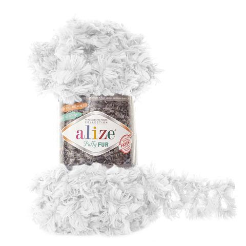 Купить Пряжа Alize Puffy Fur Цвет 6100 Белый | Интернет-магазин пряжи «Пряха»