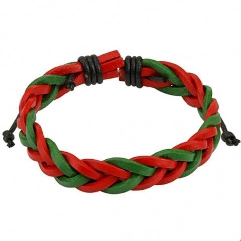 Браслет косичка красный с зелёным из натуральной кожи SPIKES SL0173