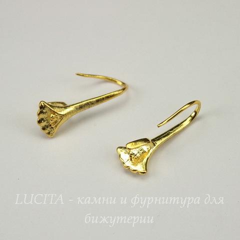 "Швензы - крючки с держателем для подвески ""ракушка"", 21х9 мм (цвет - золото), пара"
