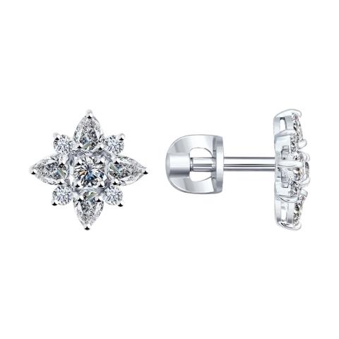 Гвоздики из серебра с фианитами от SOKOLOV арт.94021969
