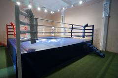 Ринг боксерский на помосте, разборный, помост 7.5х7.5м, высота 1м, боевая зона 6х6м.