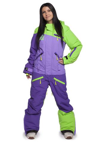 Женский комбинезон для сноуборда Cool Zone Mix 3514/30 салат-фиолетовый | Интернет-магазин Five-sport.ru