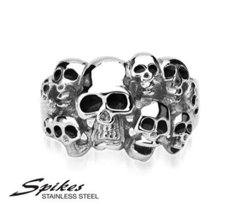 Мужское кольцо «Черепа» из стали («Spikes»)