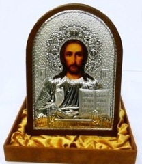 Серебряная с золочением икона Иисуса Христа Спасителя 20х14,5см инкрустированная драгоценными камнями  в подарочной коробке