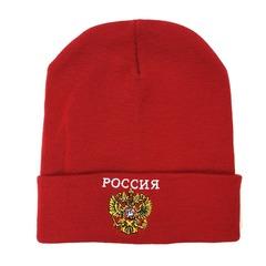 Вязаная шапка с эмблемой герба России (Russia) красная