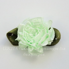 Цветочек с листиком бледно-салатовый 28 мм