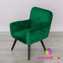 Детское стильное кресло в стиле 60-х, изумрудный
