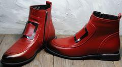 Женские кожаные ботинки осень Evromoda 1481547 S.A.-Red