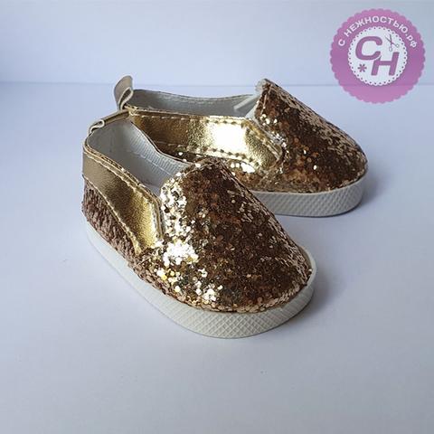 Обувь для кукол, туфли с блестками, 7*3,5 см по подошве, 1 пара.