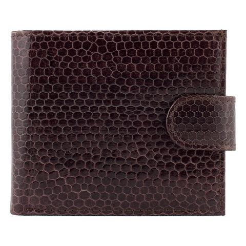 Стильный мужской коричневый кошелёк из экзотической натуральной кожи морской змеи WN-123