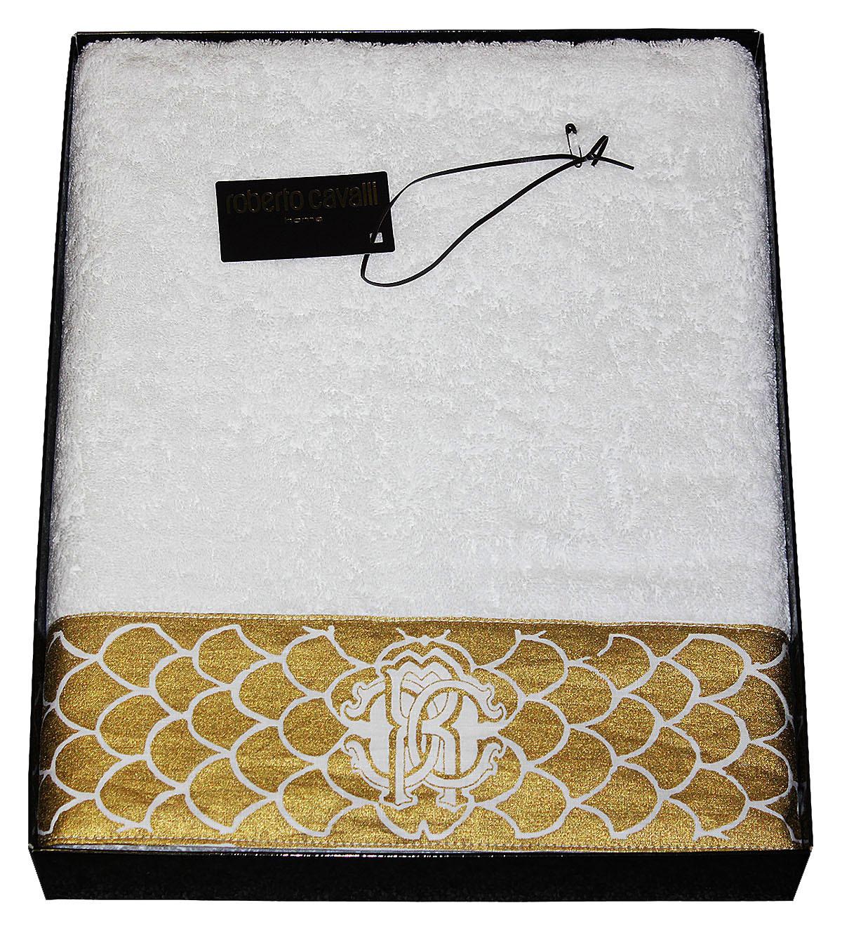 Полотенце 100х150 Roberto Cavalli Gold белое