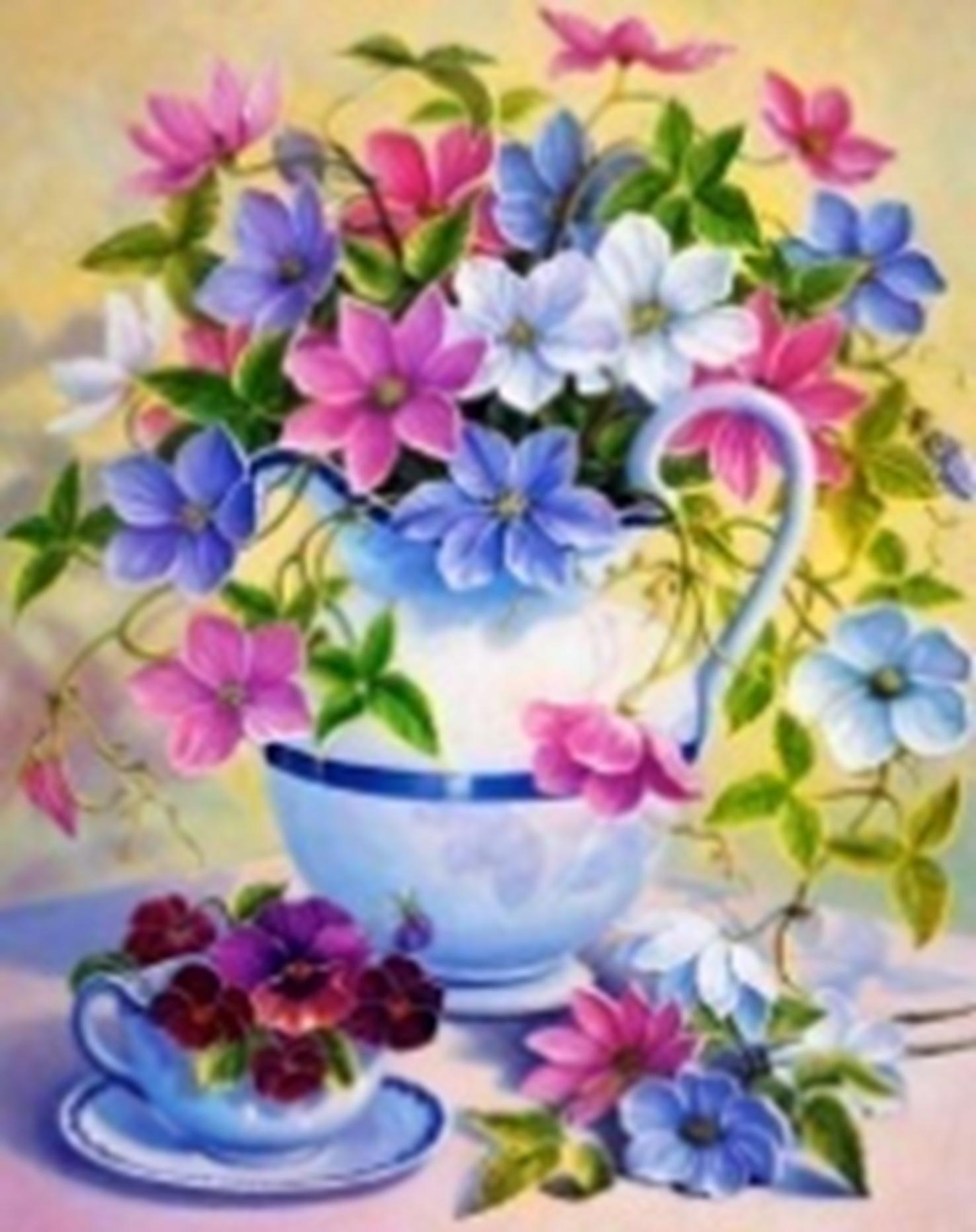 Картина раскраска по номерам 30x40 Полевые цветы в графине ...