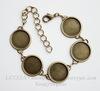 Основа для браслета с 5 сеттингами для кабошона 18 мм, 25 см (цвет - античная бронза)