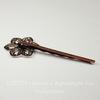 Основа для заколки - невидимки с филигранным цветком 20 мм, 61 мм (цвет - античная медь)