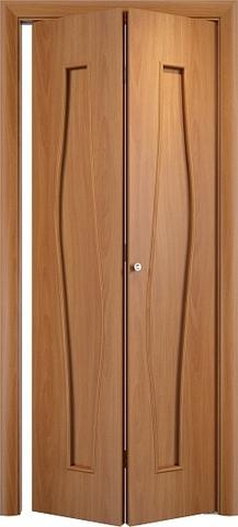 Дверь складная Верда С-10 (2 полотна), цвет миланский орех, глухая