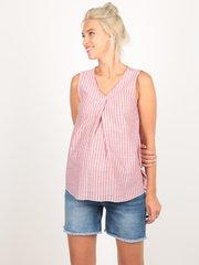 Евромама. Блуза для беременных в полоску со складкой, капучино