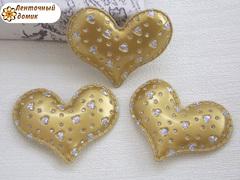 Мягки декор сердечки перфорированные золотые