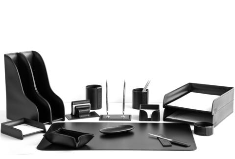 Настольный набор 15 предметов из кожи цвет черный №32