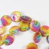 Бусина Перламутр с принтом, круглая плоская, цвет - микс, 18х3 мм, нить