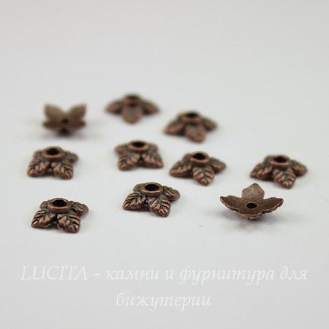 """Шапочка для бусины """"4 листика"""" 6 мм (цвет - античная медь), 10 штук"""