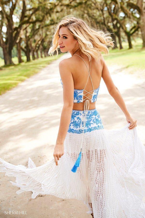 Sherri Hill 52671 Платье кроп-топ длинное, кружевное