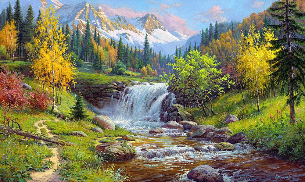 Картина раскраска по номерам 30x40 Водопад в горах– купить ...