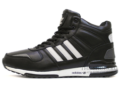 Кроссовки Мужские ADIDAS ZX  MID Black White Leather (с Мехом)