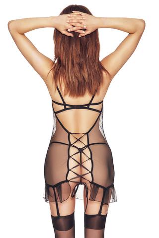 Черная эротическая сорочка из тюля с черной атласной отделкой впереди и шнуровкой на спине, чашки лифа на косточках и декорированы кружевом и люрексом фото