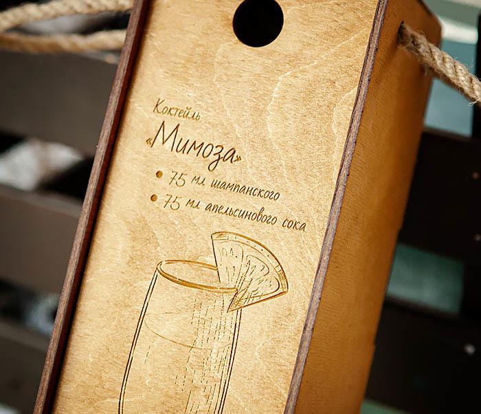 BOX241 Деревянная коробка для шампанского (33*10*10,5 см) фото 02