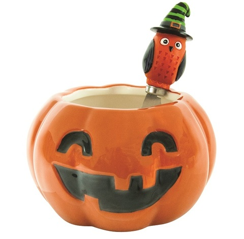 Набор чаша глубокая и нож Boston Warehouse All Owl's Eve Pumpkin
