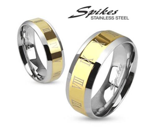Мужское кольцо золотистого цвета с римскими цифрами