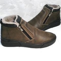 Мужские зимние ботинки из натуральной кожи Rifellini Rovigo 046 Brown Black