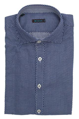 Фиолетовая рубашка с белым узором