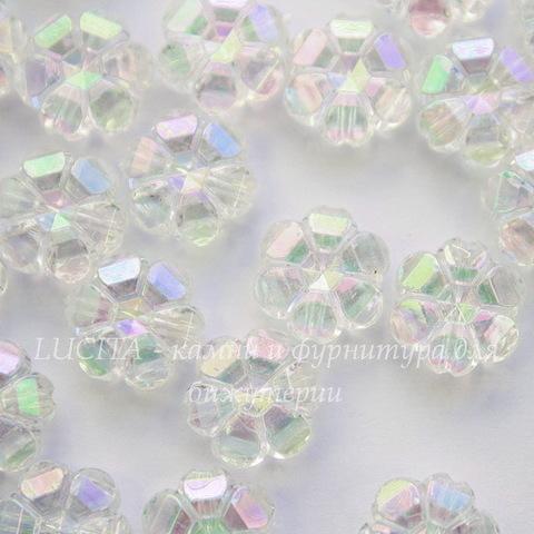 Бусина акриловая Цветочек прозрачный с AB покрытием 10х4 мм, 10 штук