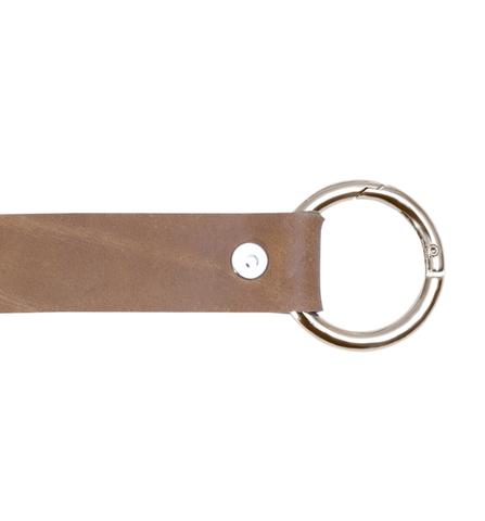 Ручка кожаная с кольцами-карабинами песочная