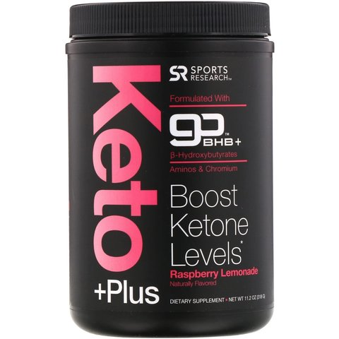 Sports Research, Keto Plus, GO BHB + MCT (малиновый лимонад), 318 г (11,2 oz)