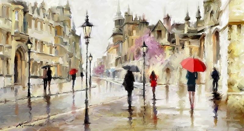 Картина раскраска по номерам 50x65 Дождливый город  Дождливый Город Картина