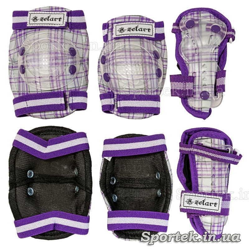 Бело-фиолетовая защита Zelard (Зелард) на резинках с липучками для катания детей на велосипедах, роликах, скейтбордах