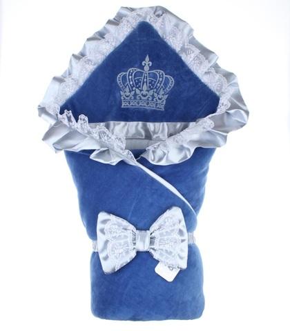 Зимний конверт на выписку Excellent велюр синий