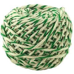 Шнур хлопковый бело-зеленый 2 нити / 50 м, 1000 Ктекс